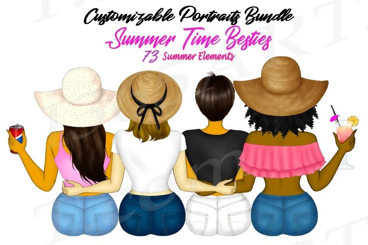 Best Friends Clipart Customizable Summer Besties Fashion PNG example image 1