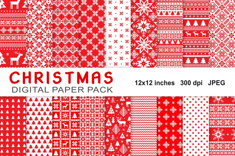 Christmas Digital Paper Pack, knitted seamless patterns example image 1