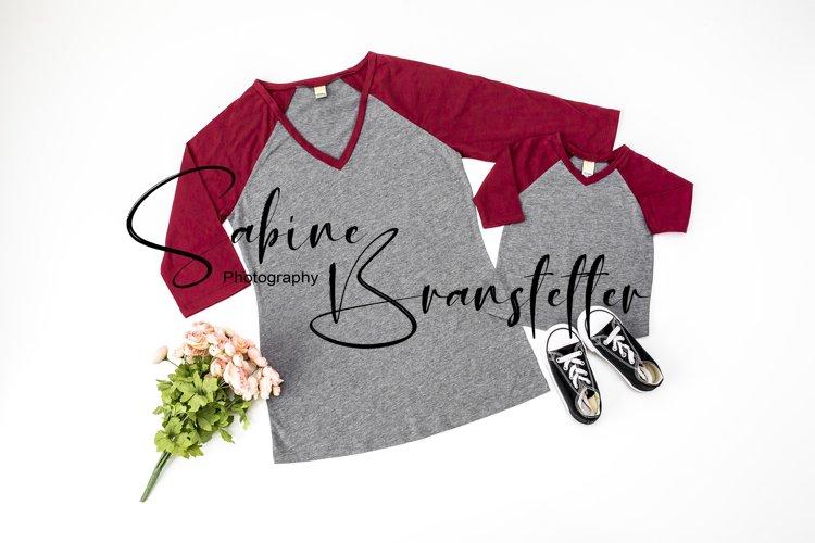 Styled Stock Photo Womens/Infant Raglan Family Shirt Mockup
