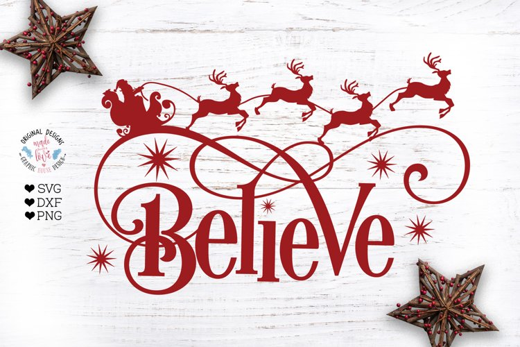Believe Christmas Cut File example image 1