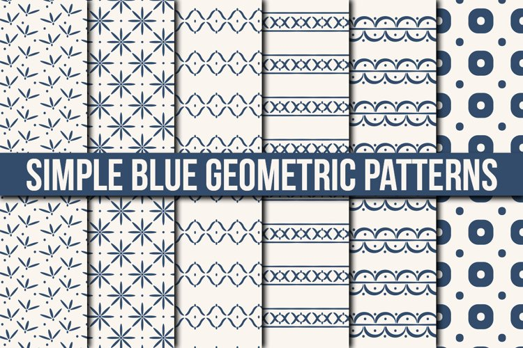 Simple Blue Geometric Patterns example image 1