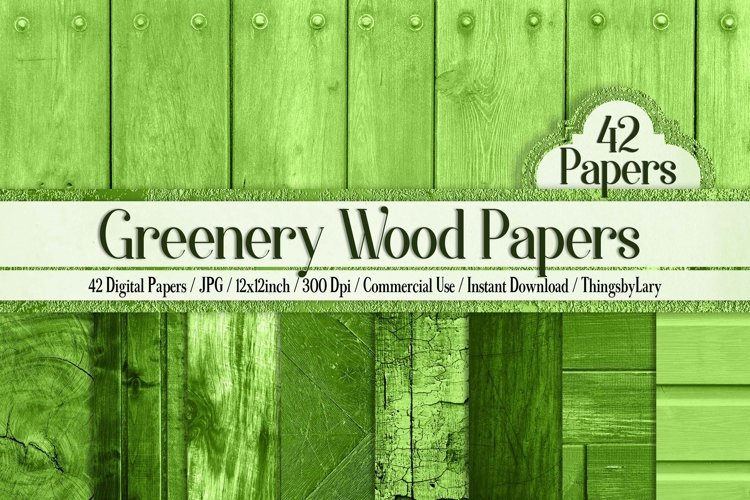 42 Greenery Rustic Wood Texture Digital Papers 12 x 12 inch example image 1