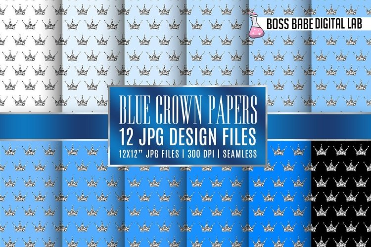 Seamless Blue and Silver Crown Papers example image 1