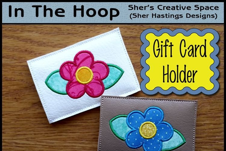 ITH Simple Flower Gift Card Holder - All Occasion Gift Card Holder - Machine Embroidery