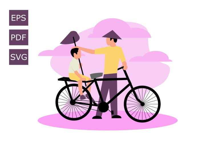 Flat illustration of father and son example image 1