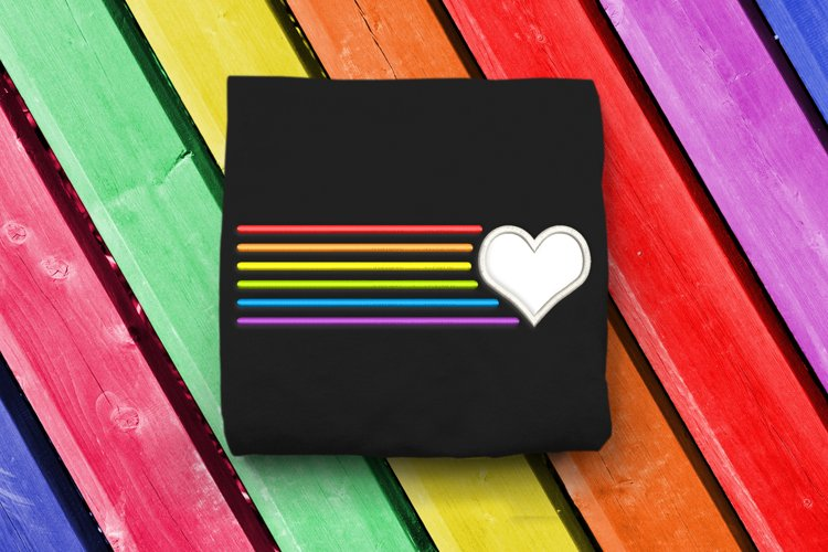Heart with Rainbow Lines LGBT Applique Embroidery Design