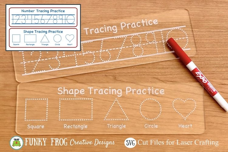 Number and Shape Tracing Laser Cut Ready SVG Vector File