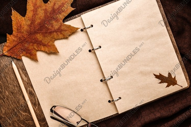 Notepad with blank sheets, glasses, dry leaves. Autumn mood example image 1