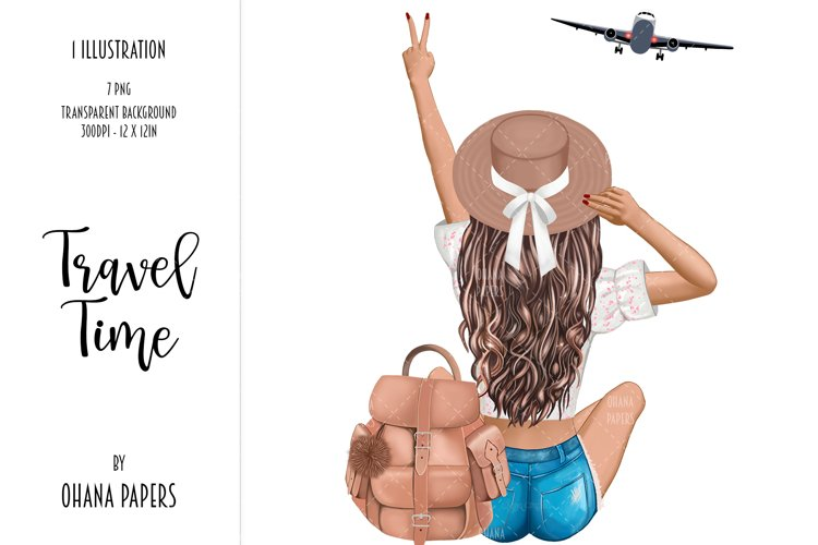 Fashion Travel Girl Clipart - Cute Backpack Illustration