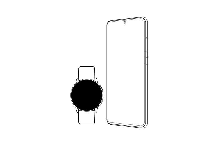 Modern outline gadgets wristwatch and smartphone example image 1