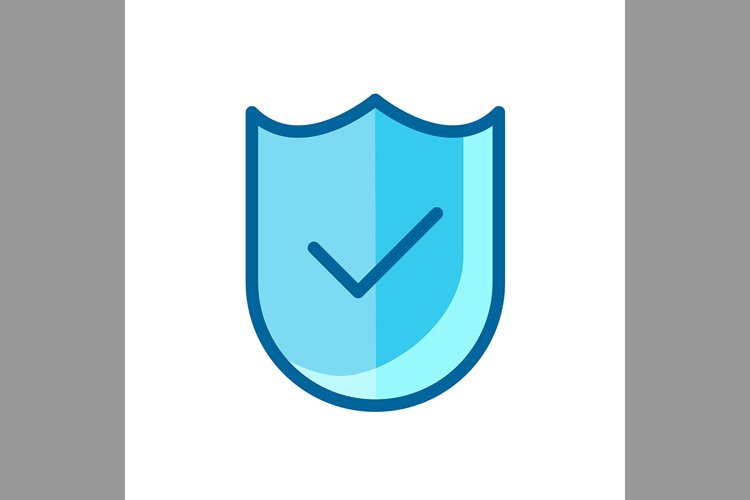check mark and shield, verified symbol blue icon, Vector Ill example image 1