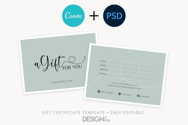 Gift Certificate Template, Editable Gift Certificate