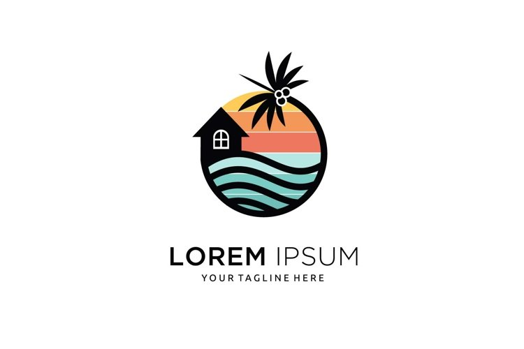 Minimalist palm sunset sunrise home beach logo design example image 1