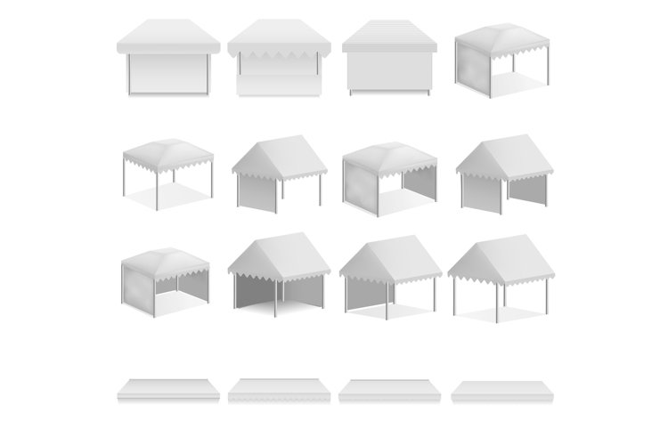 Canopy shed overhang mockup set, realistic style example image 1
