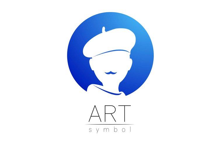 Modern Logo Sign of human artist . Silhouette logotype example image 1