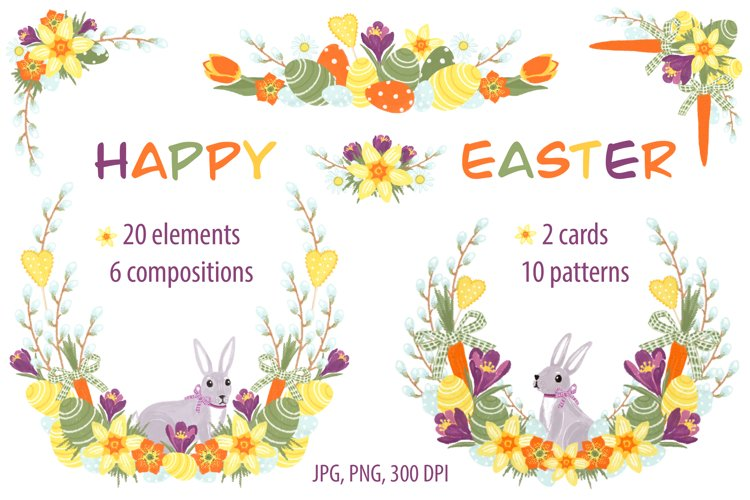 Happy Easter and Spring illustrations set