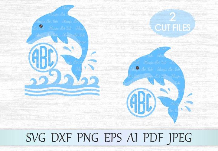 Dolphin svg file, Dolphin monogram, Sea wave svg file, Whale svg, Dolphin cut file, Dolphin silhouette, Dolphin clipart, Dolphin and wave svg