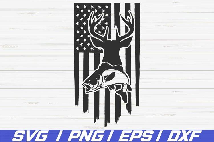 Deer Hunt Flag SVG / Fishing Usa Flag SVG / Cut File