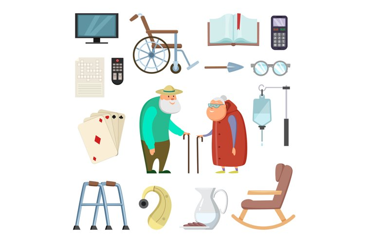 Old couples with different assistants tools for healthy life example image 1