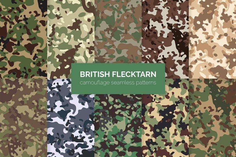 British Flecktarn Camouflage Seamless Patterns