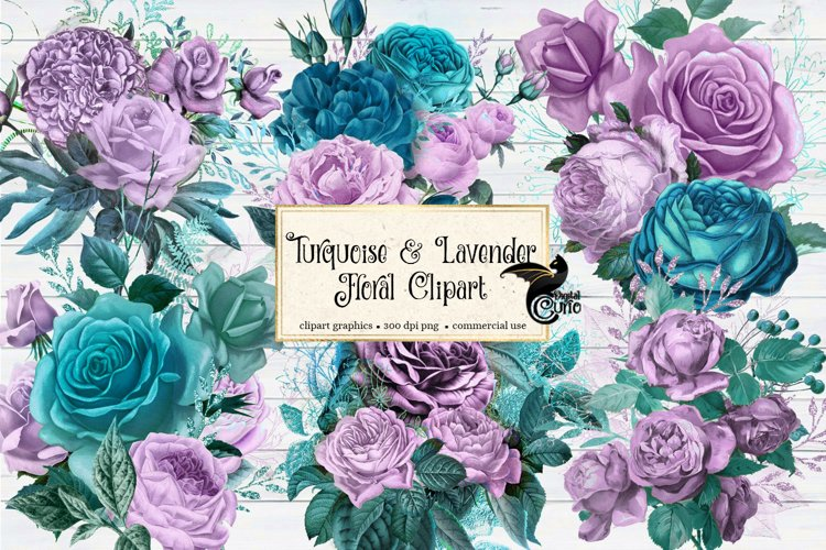 Turquoise and Lavender Floral Clipart