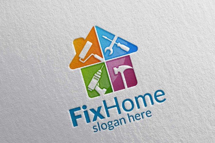 Real Estate Logo, Fix Home Vector Logo Design Suitable