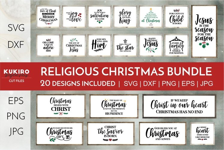 Christian Christmas Signs SVG Bundle - Religious quotes SVG
