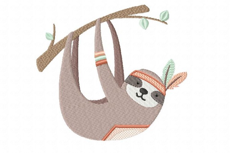 Swinging Sloth Machine Embroidery Design in 2 sizes