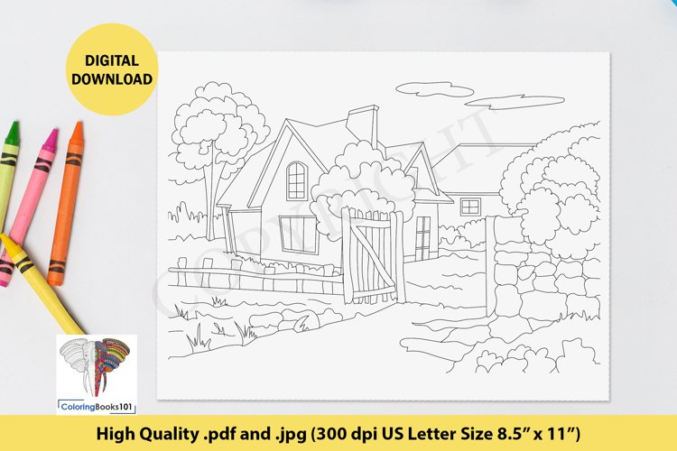 The Sketch of the Old House Coloring Page for Adult example image 1