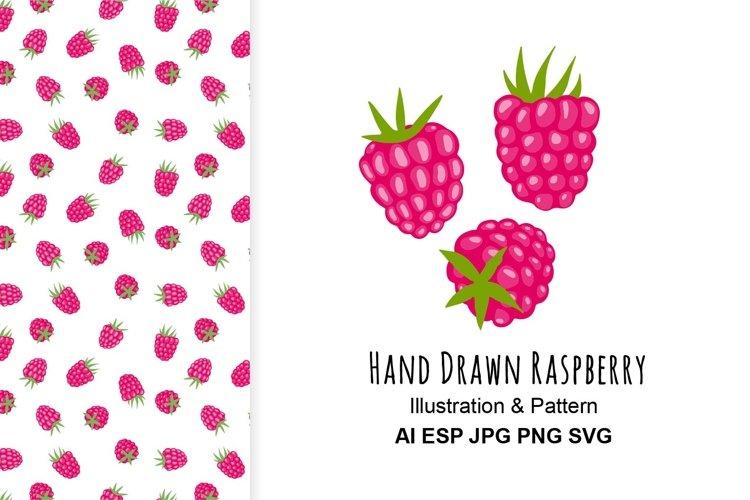 Raspberry illustration and pattern.