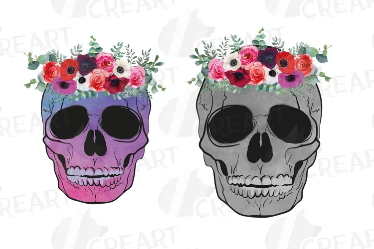 Floral human skull printable watercolor decoration clip art. example image 1
