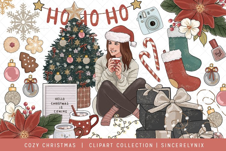 Holidays Fashion Girl Clip Art Pajama Christmas Tree Winter