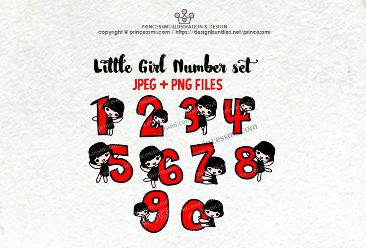 little girl Number set , 1 to zero number clipart set example image 1