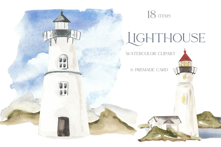 Lighthouse clipart, watercolor lighthouses illustration, sea