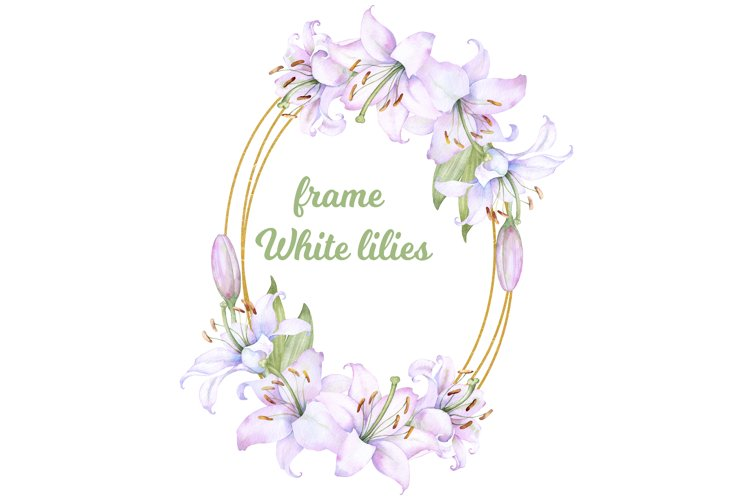 Golden round frame with watercolor white lilies flowers