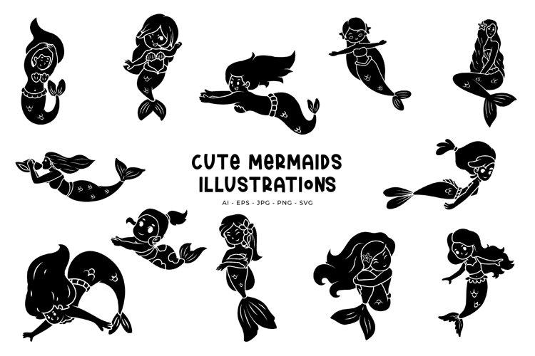 Cute Mermaids illustrations example image 1