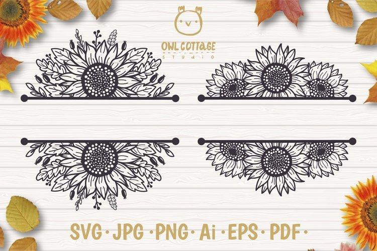 Sunflowers Split Border Monograms Set svg, floral monograms example image 1