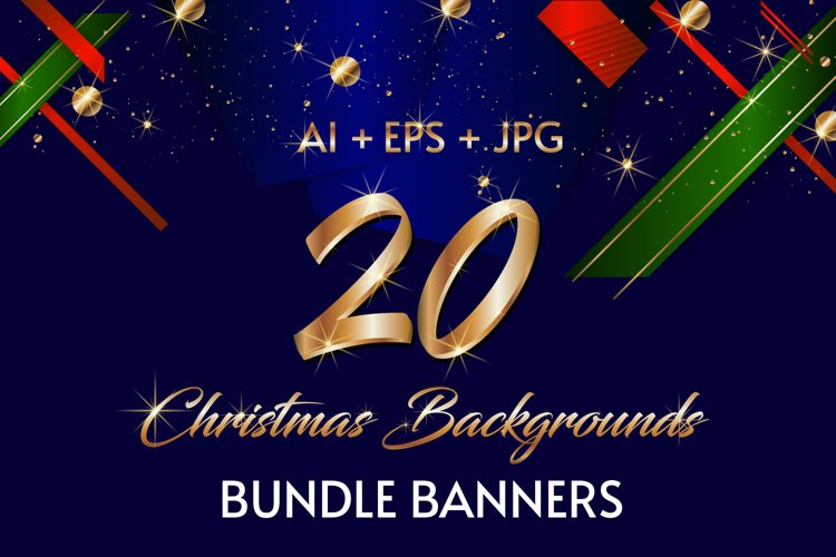 20 Christmas backgrounds bundle banners Ai Eps Jpg