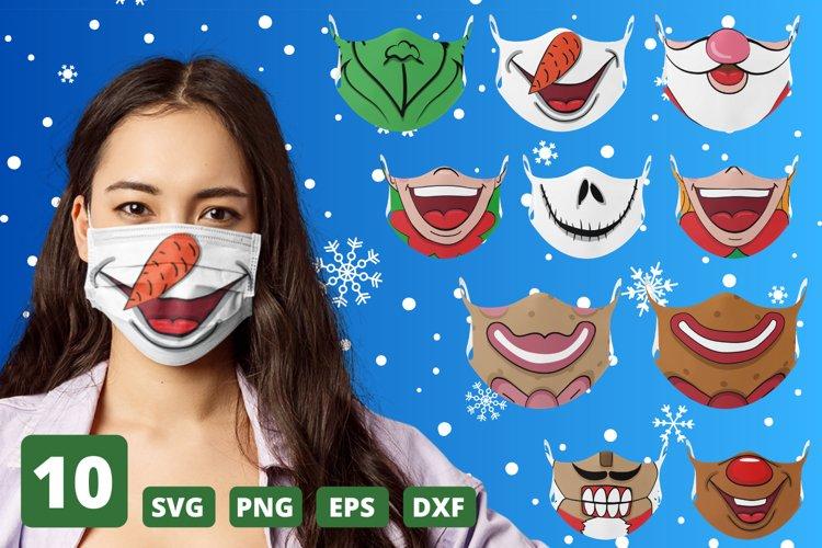 Christmas Face Mask SVG Bundle, funny mouth cricut pattern example image 1