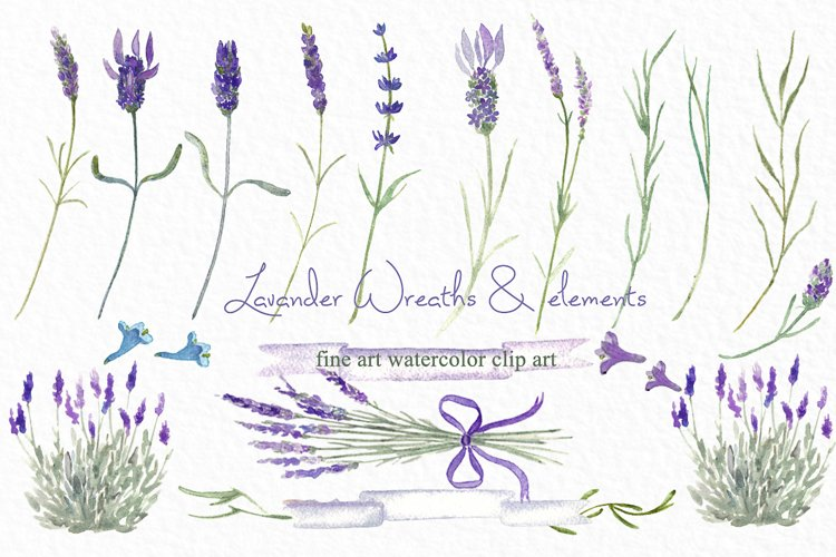 Lavender wreaths watercolor clipart example image 1