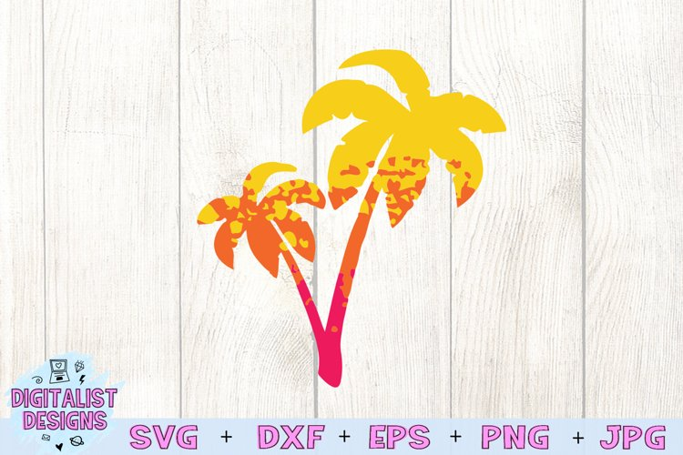 Palm Tree SVG | Summer SVG | Silhouette | Grunge | Ombre example image 1