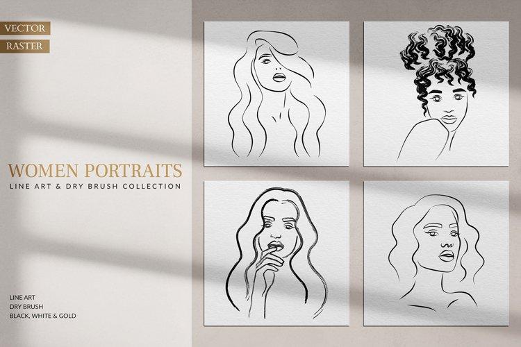 Women Portraits. Line Art Collection. example image 1