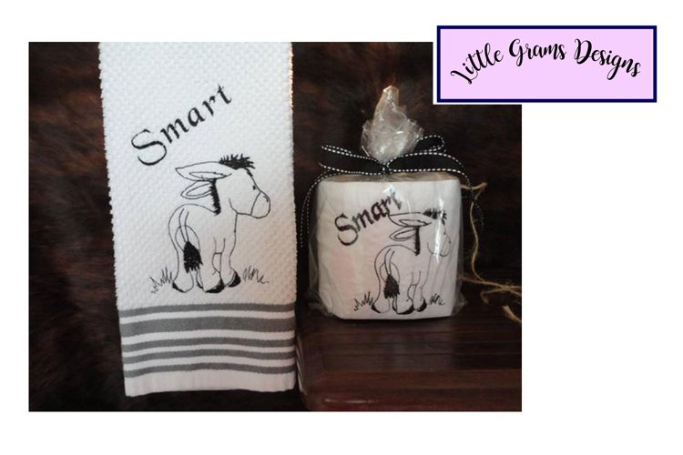 Donkey Smart Toilet Paper Towel Embroidery Design example image 1