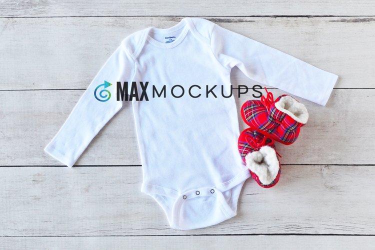 Baby bodysuit Mockup, winter Christmas styled photo flatlay