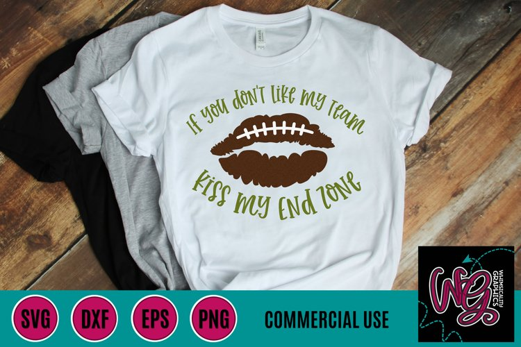 Kiss My End Zone Football SVG DXF PNG EPS Comm
