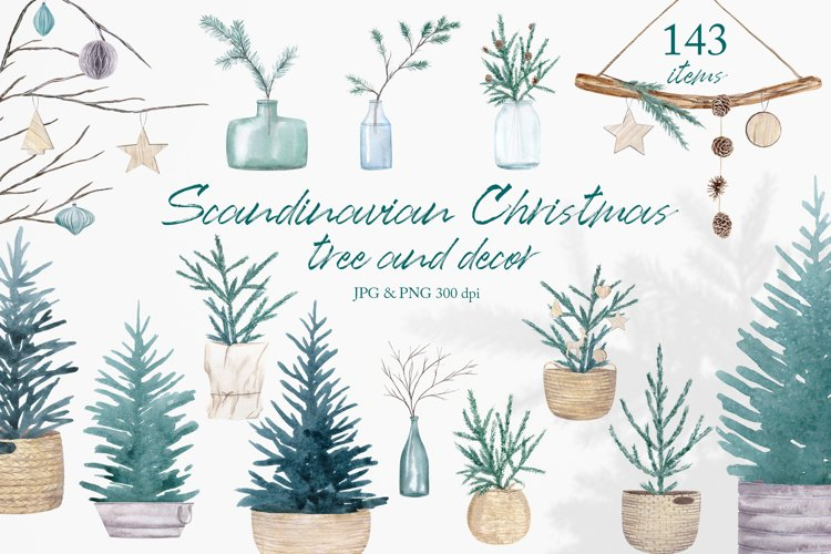 Watercolor Christmas Clipart Scandinavian Christmas Tree