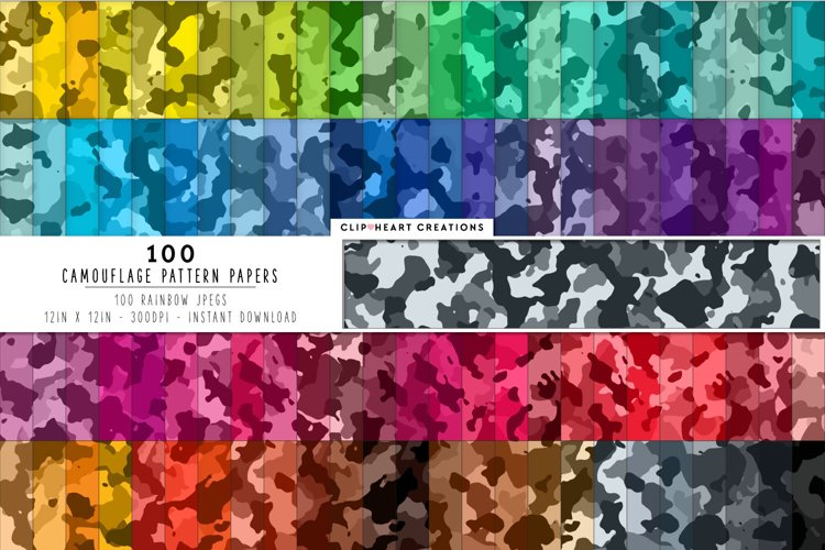 100 Camouflage Pattern Digital Papers in Rainbow Colors example image 1