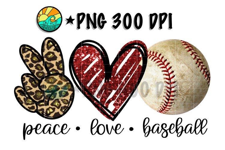 Peace - Love - Baseball - PNG 300 DPI Sublimation example image 1