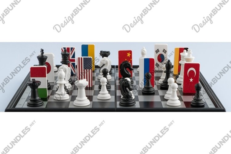 Chessboard with flags of world countries. Political game example image 1