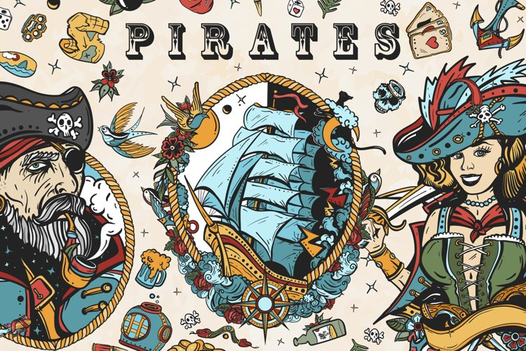 Pirates old school tattoo example image 1